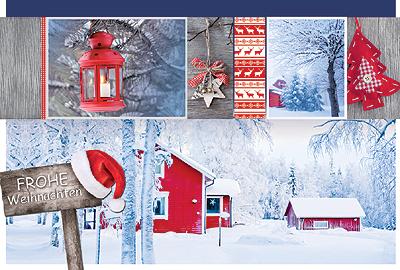 Stilvolle Weihnachtskarte mit winterlichen skandinavischen Fotomotiven