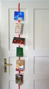 Weihnachtskarten auf Schleifenband