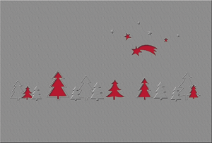 Weihnachtskarte mit Ausstanzungen in Form von Sternen, Kometen, Bäumen