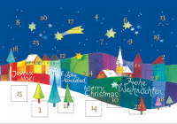 Weihnachtskarte mit Adventskalender