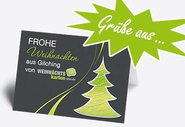 Weihnachtskarte mit Firmen-Logo und Stadtnamen auf der Titelseite