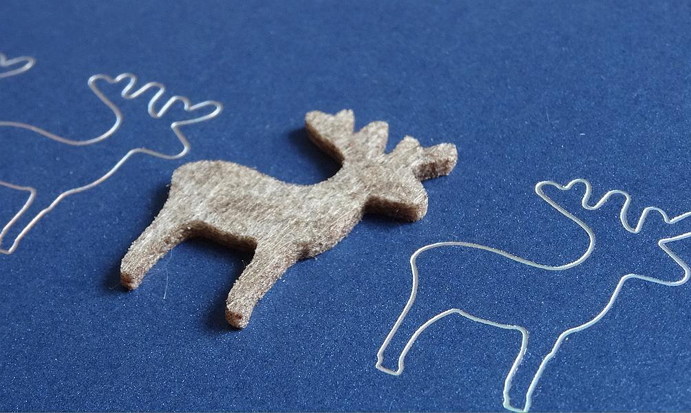 Weihnachtskarte mit Hirsch-Patch aus Filz